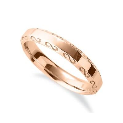 指輪 18金 ピンクゴールド S字模様が刻まれたサイドカットリング 幅3.6mm|K18PG 18k 貴金属 ジュエリー レディース メンズ