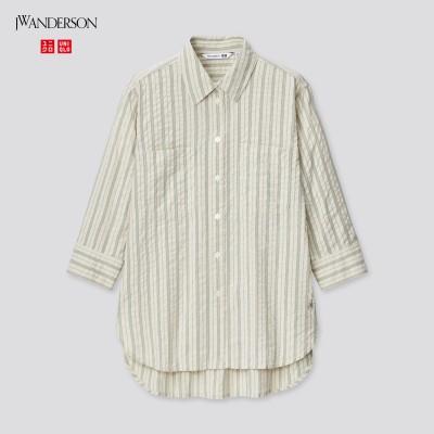 シアサッカーストライプシャツ(7分袖)