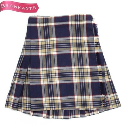 OLD ENGLAND オールドイングランド ウール チェック柄 ラップミニスカート 36 濃紺 スカート 中古 19ia74