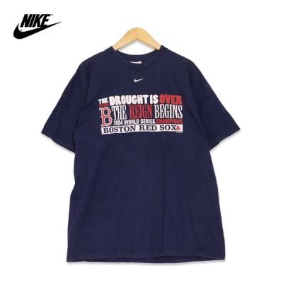Nike ボストン・レッドソックス 2004 ワールドシリーズ チャンピオンズ プリント 半袖Tシャツ メンズLサイズ ネイビー MLB 大リーグ ユーズド 古着 t200625-32