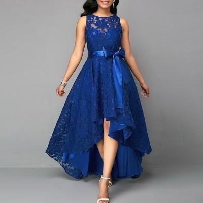 ロングレースイブニングマレットドレス