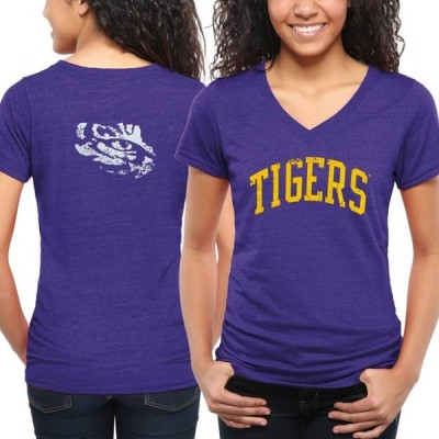 レディース スポーツリーグ アメリカ大学スポーツ LSU Tigers Women's Slab Serif Tri-Blend V-Neck T-Shirt - Purple Tシャツ