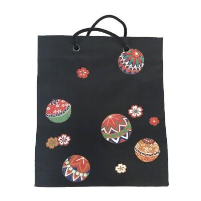 布バッグ 和風 エコバック おしゃれ ショッピングバッグ トートバッグ 手提げ マチ付き 和柄 着付けバッグ お稽古バッグ サブバッグ ブラック ecobag
