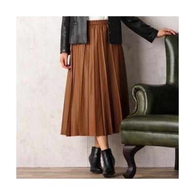 PISANO / ピサーノ レザー風アコーディオンプリーツスカート
