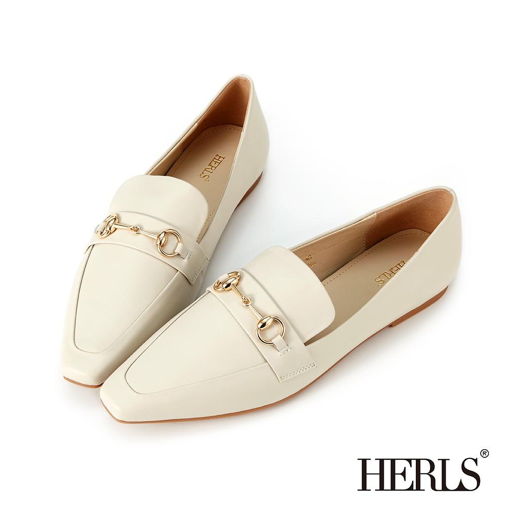 [獨家訂製楦型]HERLS樂福鞋 全真皮馬銜釦小方頭平底樂福鞋 米色
