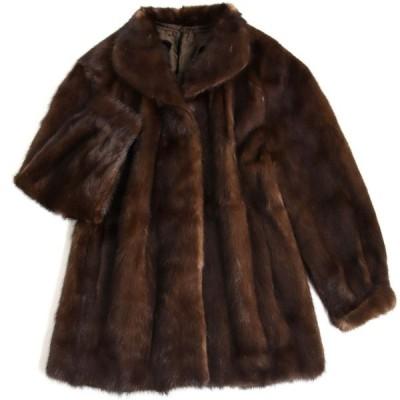 毛並み極美品▼2 MINK ミンク 裏地花柄刺繍入り 本毛皮コート ブラウン 毛質艶やか・柔らか◎