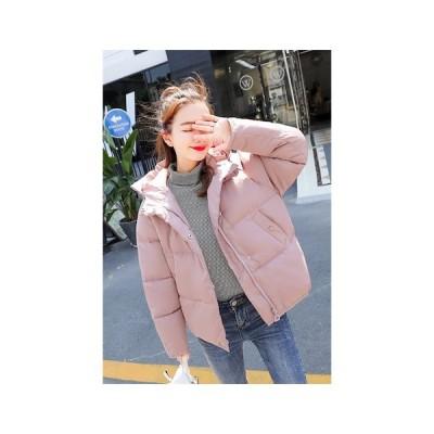 中綿コート レディースショート丈コート フード付きコート ダウンジャケット 3色選択可 大きいサイズ  シンプル キルティングコート アウター 二枚送料無料