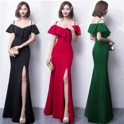肩魅せデザインがセクシーな欧米スタイル 肩魅せフリルデザイン ストレッチロングドレス キャバドレス キャバワンピ キャバドレス