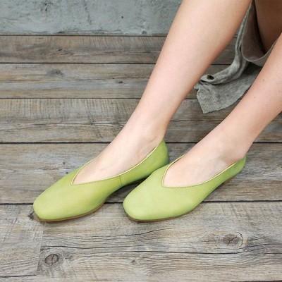 エンアシナガオジサン ENあしながおじさん 足が痛くならない靴で人気!Vカットフラットシューズ (グリーン)