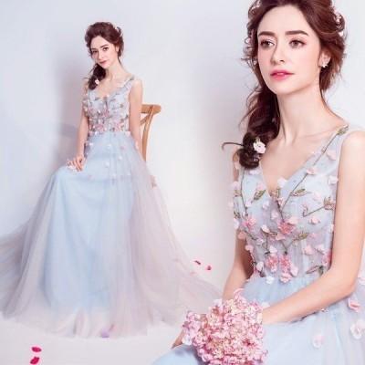 ウエディングドレス♪パーティードレス♪お姫様♪編み上げ立体花柄結婚式披露宴司会者花嫁写真撮影ロング舞台衣装