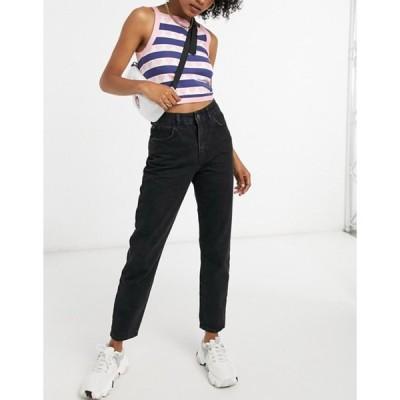 ノイジーメイ レディース デニムパンツ ボトムス Noisy May Premium Isobel mom jeans with high waist in black