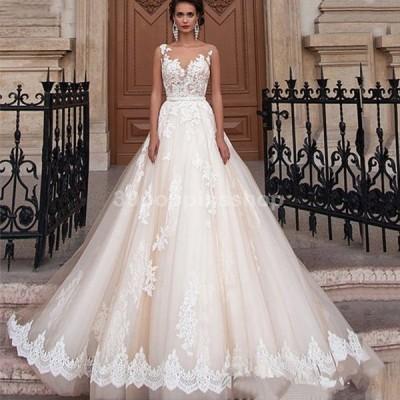 ホワイト ウエディングドレス ノースリーブ トレーンドレス 背開き 結婚式ドレス Aライン 花嫁 ロングドレス ブライダル 披露宴 挙式