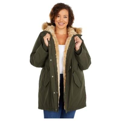 リーバイス レディース コート アウター Plus Size Arctic Cloth Fishtail Parka Jacket w/ Sherpa Lining