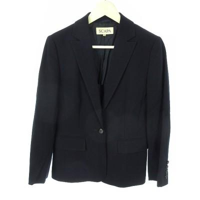 【中古】スキャパ SCAPA ウール テーラード ジャケット 38 ネイビー 紺 長袖 上着 アウター レディース 【ベクトル 古着】