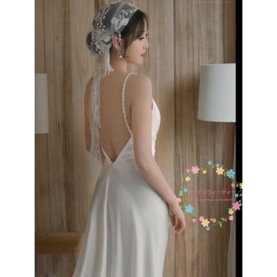 ウェディングドレス 二次会 マーメイド スレンダーライン エレガンス ロングドレス 背中開き 成人式 撮影用 お嫁さん 花嫁 カラードレス キャミソールワンピース