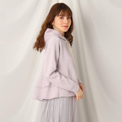 クチュール ブローチ Couture brooch 【とろけるような着心地/洗える】メルティタッチバックフリルフーディ (ライトパープル)