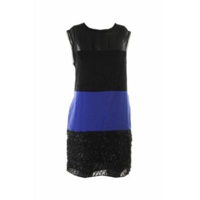 Rachel Roy レイチェルロイ ファッション ドレス Rachel Roy Bleu Noir sans Manche Mixed-Media Robe Droite S