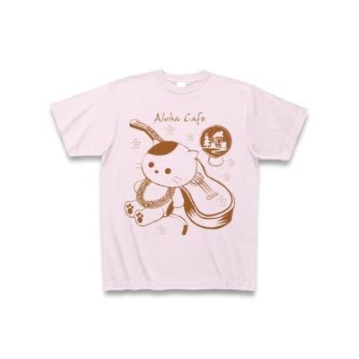 アロハ・カフェ「猫とウクレレ」 Tシャツ(ピーチ)