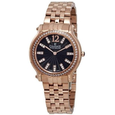 腕時計 シャーム Charmex Eze Black Dial Rose Gold-tone Ladies Watch 6346