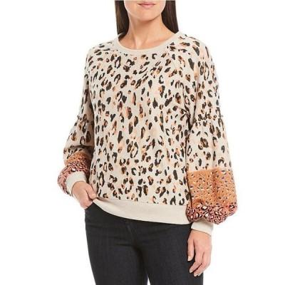 デモクラシー レディース Tシャツ トップス Mixed Cheetah Print Scoop Neck Blouson Sleeve Sweatshirt