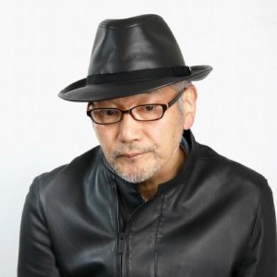 DAKS オールレザーハット メンズ 中折れハット レザー 日本製 ダックス 帽子 ヤギ革 ハット ゴー