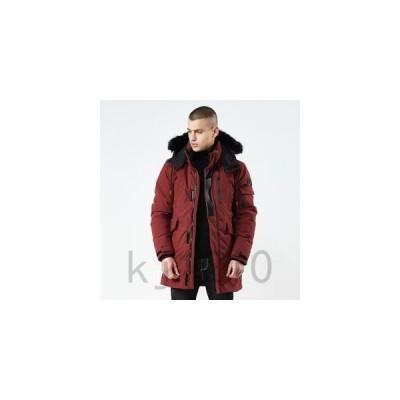 中綿コートメンズ着脱式フードファー付きロング丈シンプルベンチコート中綿ジャケットアウトドアキルティング防寒防風