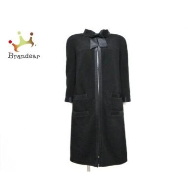シャネル CHANEL コート サイズ38 M レディース 美品 - P26923 黒 リボン/長袖/秋/冬 新着 20200928