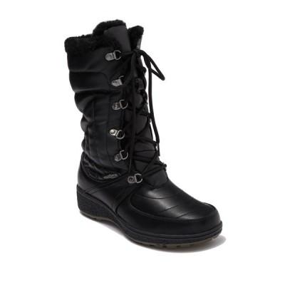 アクアサームバイサンタナカナダ レディース ブーツ&レインブーツ シューズ Courtmid Quilted Faux Fur Lined Lace Up Winter Boot BLACK SMOOTH PU