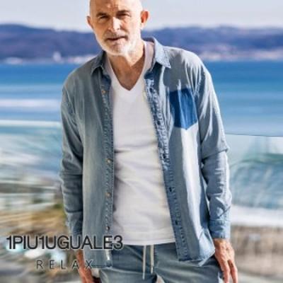 ウノピュウウノウグァーレトレ リラックス(1PIU1UGUALE3 RELAX)シャンブレーシャツ ブルー インディゴ デニムシャツ メンズ カジュア