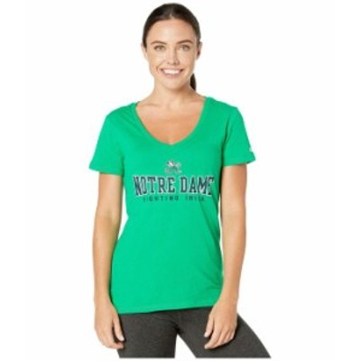 チャンピオン レディース シャツ トップス Notre Dame Fighting Irish University V-Neck Tee Kelly Green
