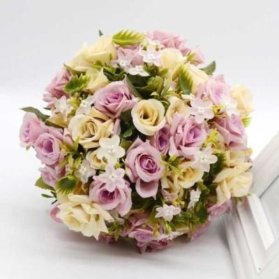 ブーケウエディングブーケブライダルブーケシルクフラワーブーケ可愛いチュール付きウェディングブーケセット造花高級ブーケドレスブーケ造花