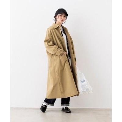 ステンカラーコート やわらか綿100% オーバーサイズステンカラーコート