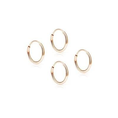 SOLIDGOLD - 14K Endless Rose Gold 10mm Infinity Hoop Sleeper Earrings 2 Pair Set【並行輸入品】