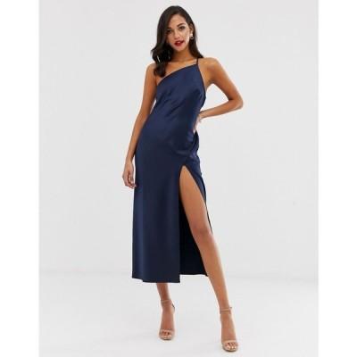 エイソス ASOS DESIGN レディース ワンピース ワンピース・ドレス one shoulder midaxi dress in satin with drape back ネイビー