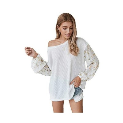 Womens Waffle Knit Tops Casual Floral Puff Long Sleeve Off Shoulder Pullove