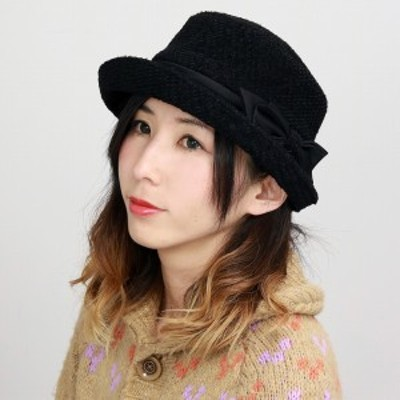 ハット レディース あったかい 日本製 帽子 冬 40代 50代 60代 リボン ハイバック ミックスモール