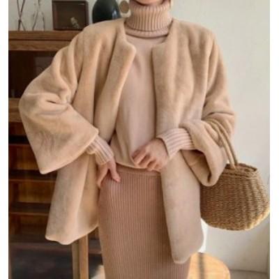 ノーカラーコート アウター ジャケット コート もこもこ トレンド ミディ丈 きれいめ かわいい 上品 大人可愛い カジュアル 秋冬