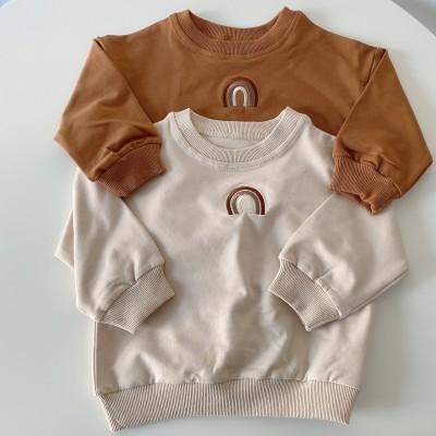 秋と冬の新しい子供服男の子と女の子のファッション刺繍入りプルオーバーベビートップカジュアルなラウンドネック長袖TシャツTB008
