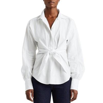 ラルフローレン レディース シャツ トップス Cotton Broadcloth Puffed Long Sleeves Button Down Self-Tie Front Shirt White