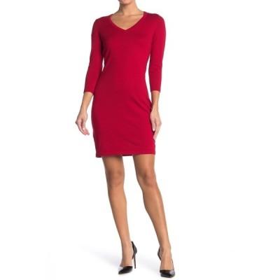 カルバンクライン レディース ワンピース トップス 3/4 Length Sleeve Sweater Dress RED