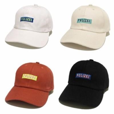 送料無料 POLIZEIボックスロゴ刺繍キャップ 帽子 ベースボールキャップ ローキャップ 野球帽 ロゴ 韓国ファッション キャップコーデ ホワ