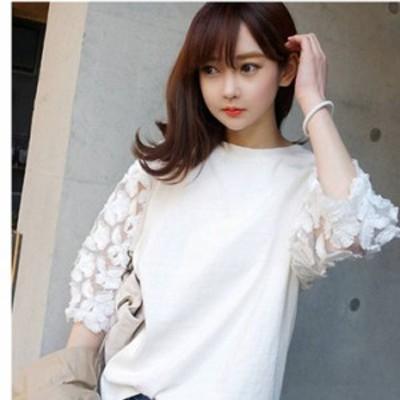 トップス 白 L 黒 XXL 即納 S-3L カットソー Tシャツ 刺繍 シャツ 804015 丸首 花柄 レース 透け感 七分袖 送料無料 nsy003 シースルー袖