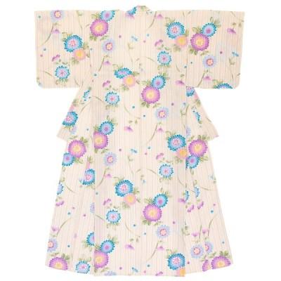 レディース浴衣 bonheur saisons 薄茶色 ベージュ 生成色 青 紫 菊 花 綿麻 夏祭り 女性用 仕立て上がり 送料無料