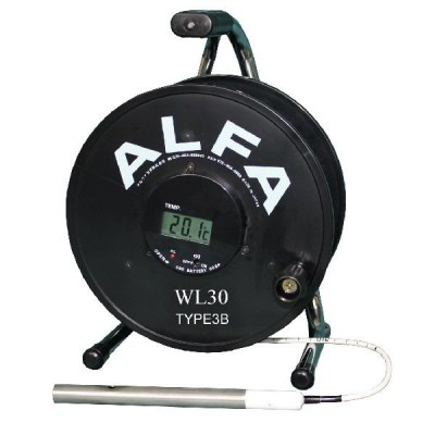 ロープ式水位計 30m Bセンサー ブザー赤色ランプ温度計付:WL30-TYPE3B