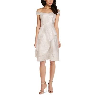 アドリアナ パペル ワンピース トップス レディース Off-The-Shoulder Organza Fit & Flare Dress Ivory