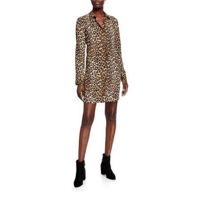 エキプモン レディース ワンピース トップス Essential Cheetah-Print Long-Sleeve Silk Dress