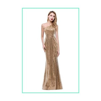 karever Women's Sequined Long Bridesmaid Dresses One Shoulder Pleat Gold Wedding Party Gown並行輸入品