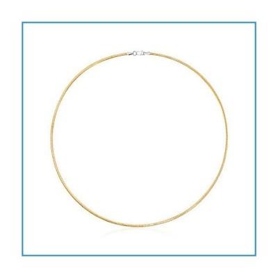 新品Ross-Simons Italian 2mm Reversible Omega Necklace in Sterling Silver and 18kt Gold Over Sterling. 16 inches【並行輸入品】
