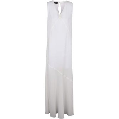 レ コパン LES COPAINS ロングワンピース&ドレス ホワイト 42 ポリエステル 98% / ポリウレタン 2% ロングワンピース&ドレス