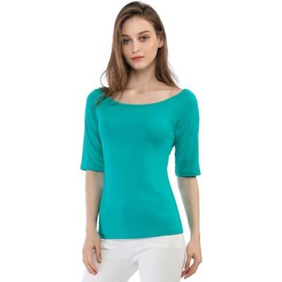 uxcell Allegra K 無地 tシャツ 5分丈 五分袖tシャツ トップス ストレッチ スリム シンプル レディース グリーン L